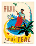Tasman Empire Airways Limited - Fiji Fly by TEAL - Fijian Native Poles a Canoe
