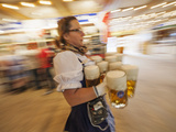 Germany  Bavaria  Munich  Oktoberfest  Waitress With Beer Steins