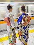 Japan  Tokyo  Girls in Kimono on Subway Platform