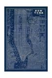Blueprint Map New York Reproduction d'art par Sue Schlabach
