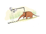 Anteater seasoning ants prior to eating them  - Cartoon