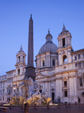Italy  Rome  Piazza Navona  Fountain of the Four Rivers and Sant' Agnese in Agone Church