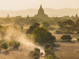 Ancient Temple City of Bagan (Also Pagan) With Horse Drawn Carriage  Myanmar (Burma)