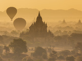 Pagodas and Temples of the Ancient Ruined City of Bagan  and Balloons at Sunrise  Myanmar