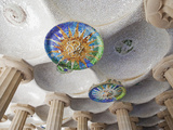 Spain  Barcelona  Guell Park  Ceiling Detail in the Hall of Columns