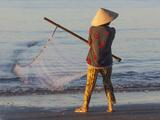 Vietnam  Mui Ne  Mui Ne Beach  Net Fisherwoman