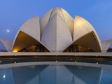 India  Delhi  New Delhi  Full Moon Over the Bahai House of Worship Know As the The Lotus Temple