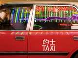 China  Hong Kong  Wan Chai  Nightlife Neon Reflected in a Hong Kong Taxi Window