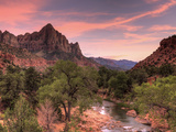 USA  Utah  Zion National Park  Watchman Mountain and Virgin River