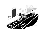 Tandem bike in HOV lane - Cartoon