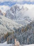 Snow  Winter  St Johann Church  Val Di Funes  Dolomites  Italy