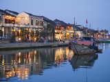 Vietnam  Hoi An  Evening View of Town Skyline and Hoai River
