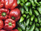 Spain  Barcelona  the Ramblas  la Boqueria Market  Vegetable Shop Display of Peppers