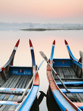 Traditional Burmese Boats at Sunrise on Taungthaman Lake  Amarapura  Mandalay  Burma (Myanmar)