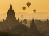Ancient Temple City of Bagan (Pagan) and Balloons at Sunrise  Myanmar (Burma)