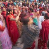 Nepalese Women Celebrating Holi Festival  Bhaktapur  Kathmandu Valley  Nepal