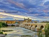 Roman Bridge Over Guadalquivir River and Mezquita  Cordoba  Cordoba Province  Andalucia  Spain