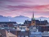 St Francois Church and City Skyline at Sunset  Lausanne  Vaud  Switzerland