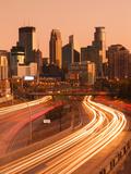 USA  Minnesota  Minneapolis  City Skyline from Interstate Highway I-35W