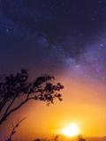 USA  Hawaii  the Big Island  Hawaii Volcanoes National Park  Halema'uma'u Crater and Milky Way