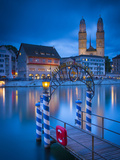 River Limmat and Grossmunster Church  Zurich  Switzerland