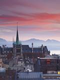 St Francois Church and City Skyline at Dusk  Lausanne  Vaud  Switzerland