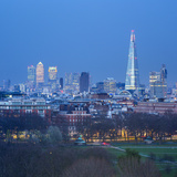 The Shard  Canary Wharf and London Skyline Above Hyde Park  London  England  UK