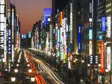 Asia  Japan  Honshu  Tokyo  Ginza  View Along Chuo-dori  a Fashionable Shopping Street in Tokyo