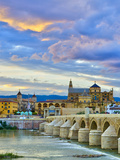 Roman Bridge Over Guadalquivir River and Mezquita  Cordoba  Cordoba Province  Andalucia  Spain