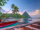 Caribbean  St Lucia  Soufriere Bay  Soufriere Beach and Petit Piton  Traditional Fishing Boats