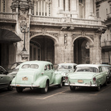 Classic American Cars in Front of the Gran Teatro  Parque Central  Havana  Cuba