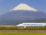Japan  Houshu  Shinkansen (Bullet Train) Passing Mount Fuji