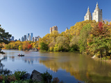 Central Park and Buildings Viewed Across Lake in Autumn  Manhattan  New York City
