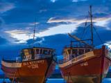 Chile  Magallanes Region  Puerto Natales  Seno Ultima Esperanza Bay  Fishing Boats  Dusk