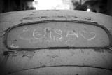 Cuba' Drawn in the Dirt on a Rear Windscreen of Old Car  Habana Vieja  Havana  Cuba