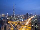 Sheikh Zayad Road and Burj Khalifa  Downtown  Dubai  United Arab Emirates