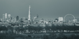 The Shard  Canary Wharf and London Eye Above Hyde Park  London  England  UK