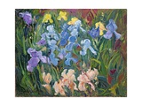 Irises: Pink  Blue and Gold  1993