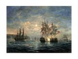 "Engagement Between the ""Bonhomme Richard"" and the ""Serapis"" Off Flamborough Head, 1779 Giclée par Richard Willis"