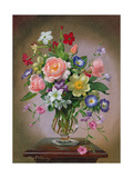Roses  Peonies and Freesias in a Glass Vase
