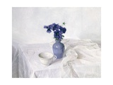 Pansies in a Blue Vase  Still Life  1990