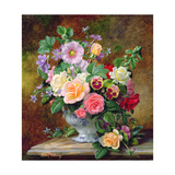 Roses  Pansies and Other Flowers in a Vase