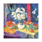 Flowers and Fruit in a Green Bowl  1997