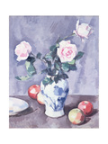 Still Life of Roses in a Blue and White Vase