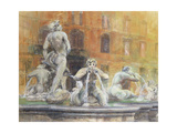 Fountain in the Piazza Navona  Rome  1982