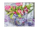 Pink and White Tulips  Orchids and Blue Antique China