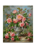 English Elegance Roses in a Silver Vase