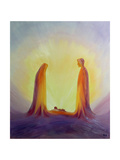 Mary and Joseph Look with Faith on the Child Jesus at His Nativity, 1995 Giclée par Elizabeth Wang