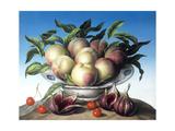 Peaches in Delft Bowl with Purple Figs