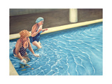 Two Ladies Getting into a Swimming Pool  2000
